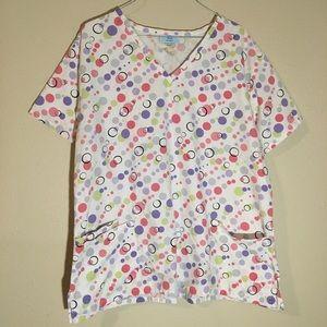 SB Scrubs Multicolor Polka Dot Scrub Top Size XL